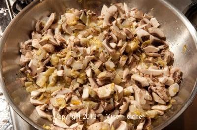 Artichokes, onions, mshrooms sauteeing