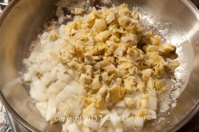 Artichokes, onions sauteeing