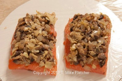 stuffed salmon unwrapped