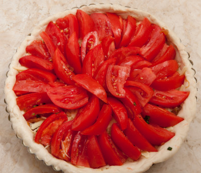 Tomatoes on whole tart