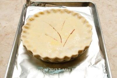 Pie on baking sheet