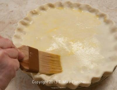 brushing with egg wash