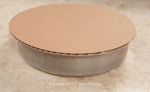 cardboard round on pan
