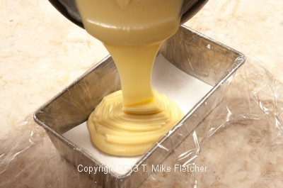 White choc. being poured in.