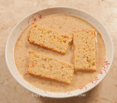 Cornbread soaking