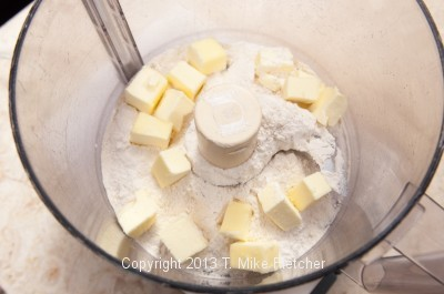 Butter and flour in processor