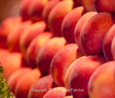 Peaches at a Farmers Market