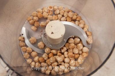 Hazelnuts in processor