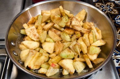 Apples in pan