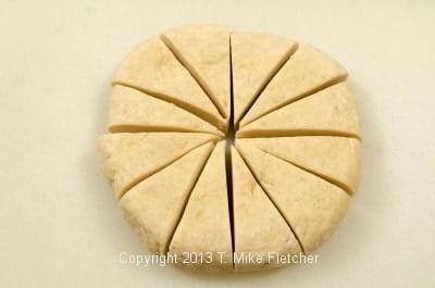 Dough cut into 12 pieces