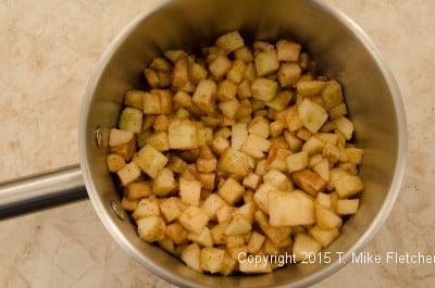 filling in pan