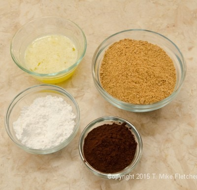 Crust ingredients for the Triple Chocolate Cheesecake
