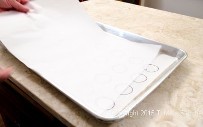 Parchment paper over drawn circle template