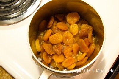 Apricots and water for Viennese Apricot Torte