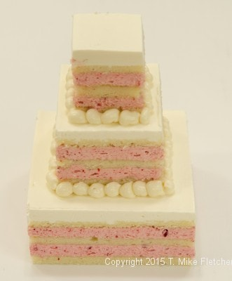 Three tiered min-wedding cake finished