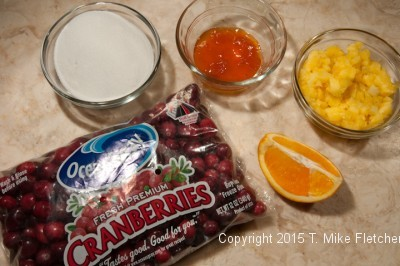Ingredients for Cranberry Fresh Pineapple Relish