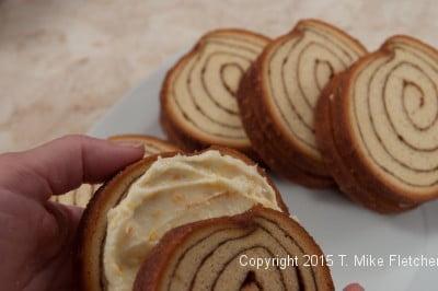 Sandwiching cinnamon bread for the Stuffed Cinnamon French Bread