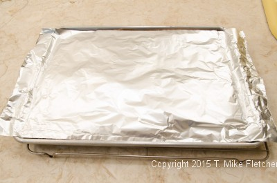 Spongecake covered with foil for the Buche de Noel