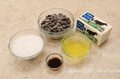Ingredients for chocolate buttercream for Buche de Noel