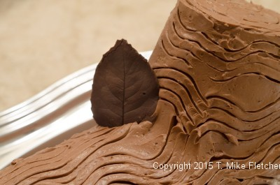 Placing a leaf on the Buche de Noel