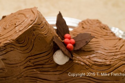 Mushroom behind a chocolate leaf for the Buche de Noel