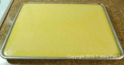 Filling in the pan for the Uploaded Lemon Bars