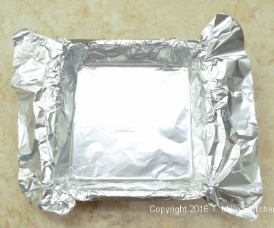 Foil inside of pan for Two Ingredient Fudge Hearts