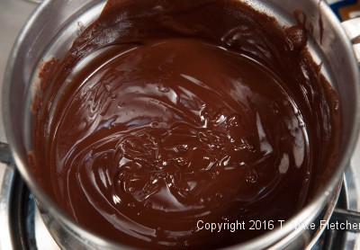 Chocolate and butter melted for the Mocha Kahlua Brownies