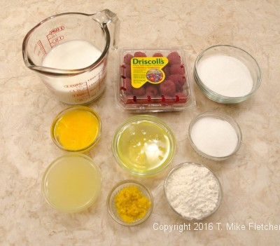 Ingredients for Lemon Raspberry Pudding Cake