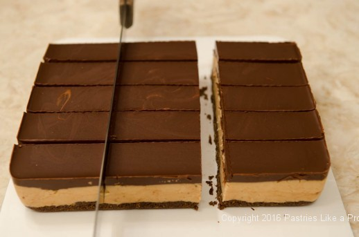Cutting down for the No Bake Peanut Butter Bars