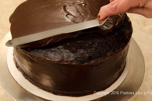 Smoothing top ganache for the Why, When and How to Undercoat a Cake