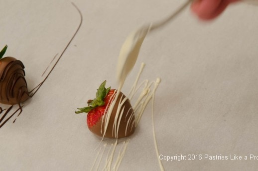 Decorating a dipped strawberry for the Chocolate Strawberry Ruffle Cake
