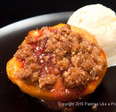 Roasted Peaches with Amaretti Crisp