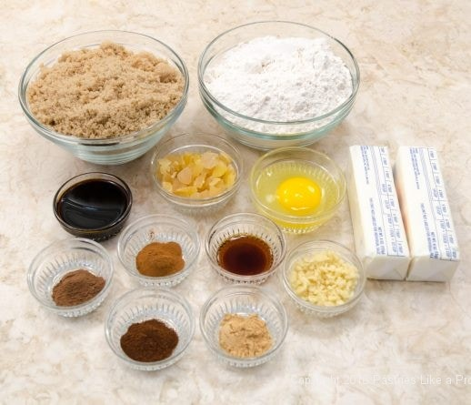Ingredients for Triple Ginger Crisps