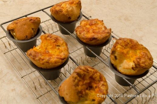 Baked popovers in the pan for the Bacon and Cheddar Popovers