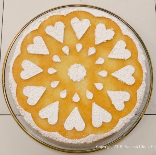 Stenciled cake for Orange Almond Teacake