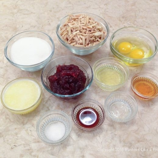 Topping ingredients for the Almond Raspberry Triangles