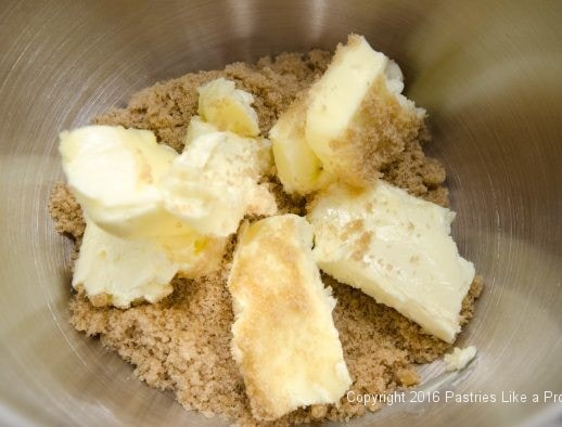 Butter and sugar in mixer for Triple Ginger Crisps