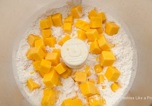 Cheese in processor for the Cheddar Pecan Shortbreads