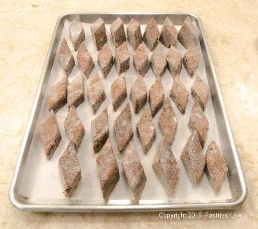 Tray of cut and sugared Honey Diamonds