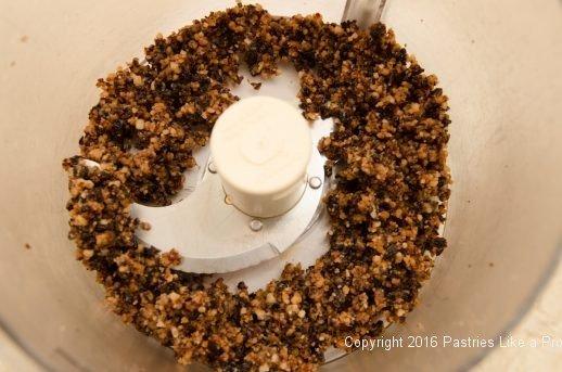 Brandied cherries, sugar and almond paste processed for the Brandied Chocolate Cherry Almond Garmisch