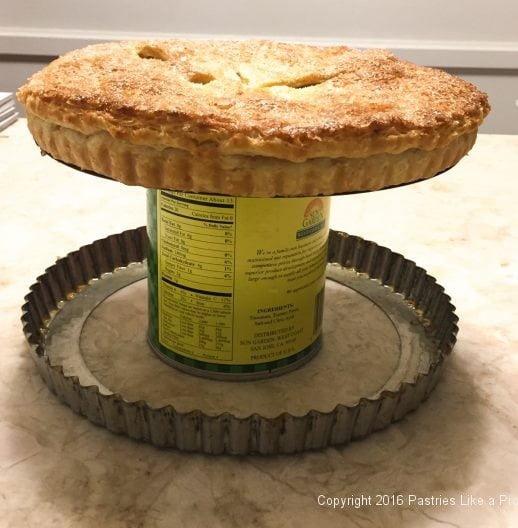 Side of tart pan down for the Honey Thyme Apple Tart