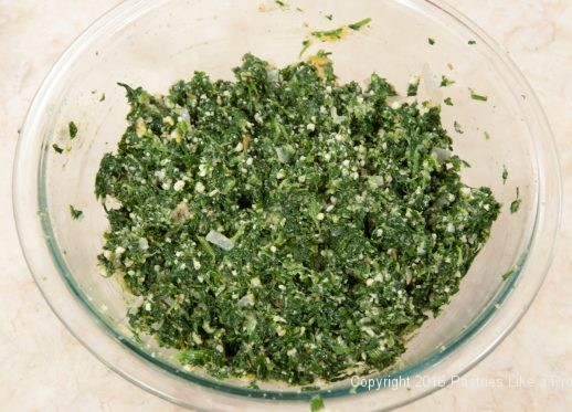 Spinach filling for the Torta Rustica