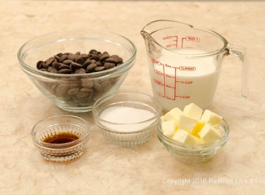 Filling ingredients for the No Bake Chocolate Raspberry Truffle Tarts
