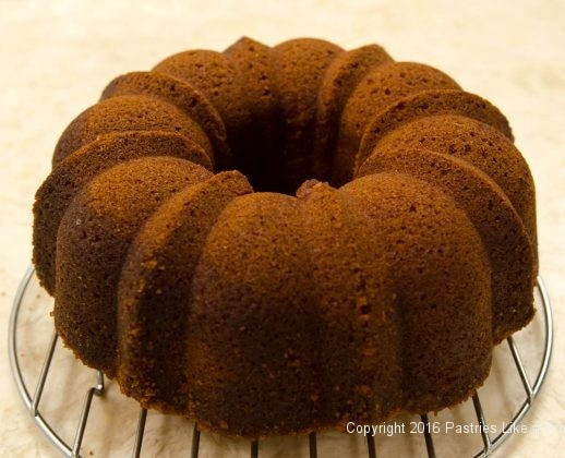 Turned out of pan for the Lemon Rum Bundt Cake