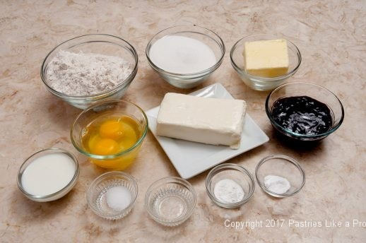 Cake ingredients for the Easily Made Raspberry Ripple Coffeecake