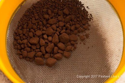 Cocoa lumps for the Decadent Gluten Free Turtle Cake