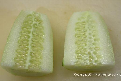 Cucumbers cut in half for International Flatbreads
