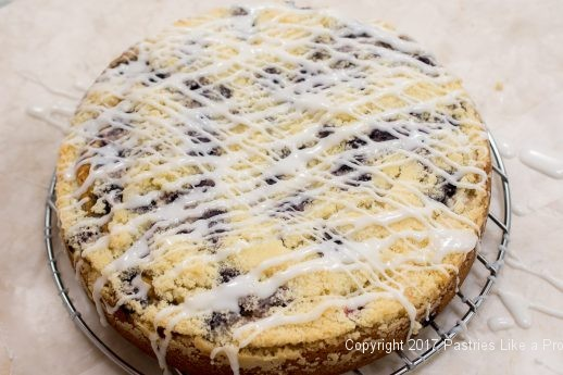 Drizzled in opposite direction for the Blueberry Crumb-Coffee-Cake