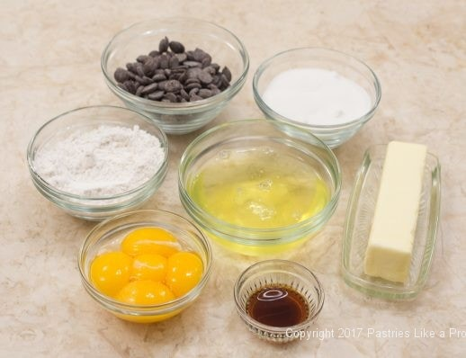 Ingredients for Chocolate Raspberry Marzipan Gateau
